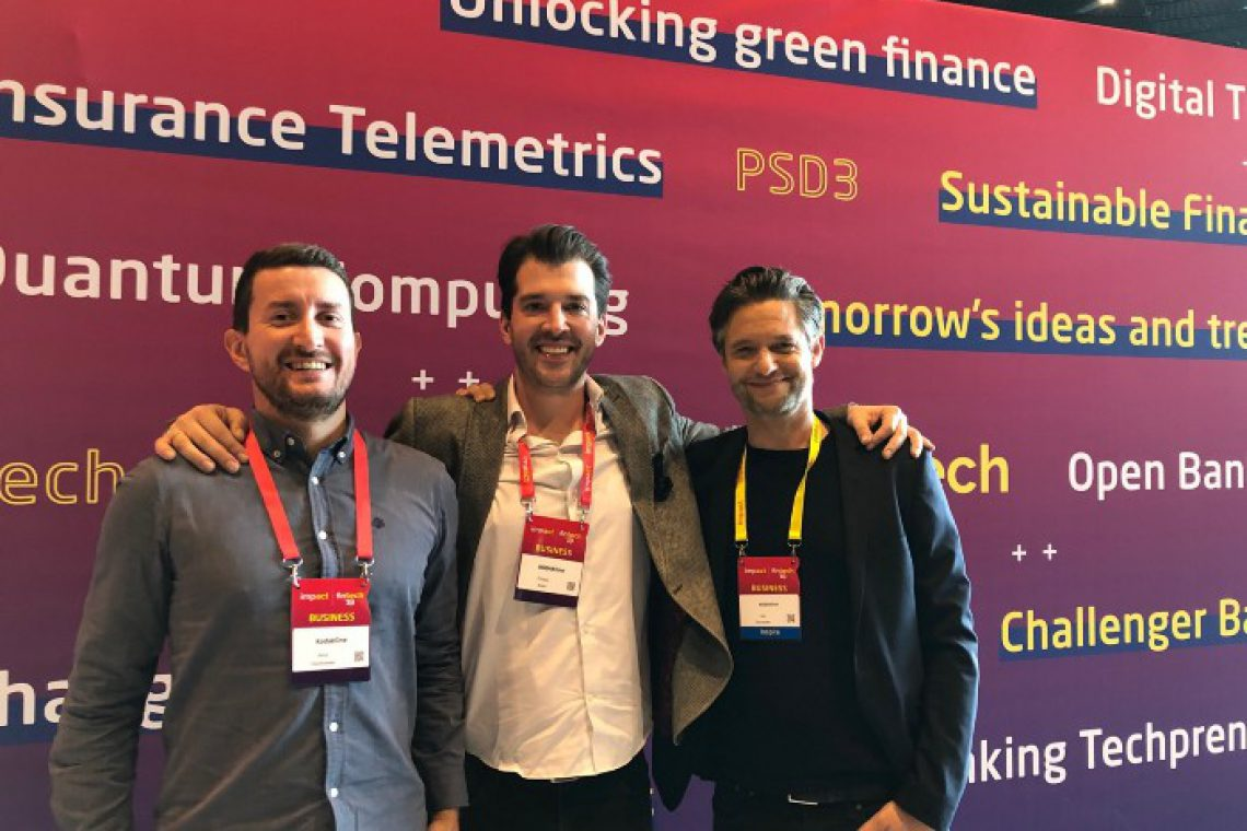 Artur, Codete's Managing Director (on the left), RYDE CPO Philipp Köhn and Jan Denecke, CEO of RYDE at ImpactCEE 2019